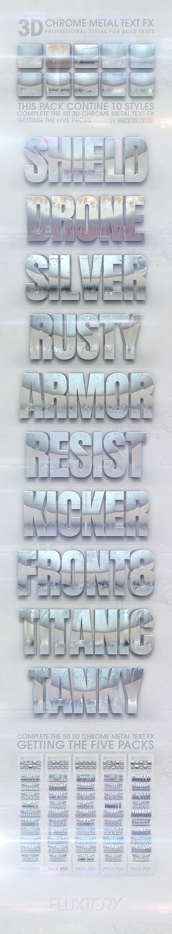 3D Chrome Metal Text FX 02 of 05 - Text Effects Styles