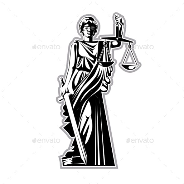 The Silhouette of the Statue of Justice