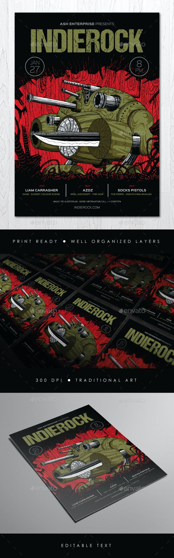 Tank Robot Indie Band Flyer - Concerts Events