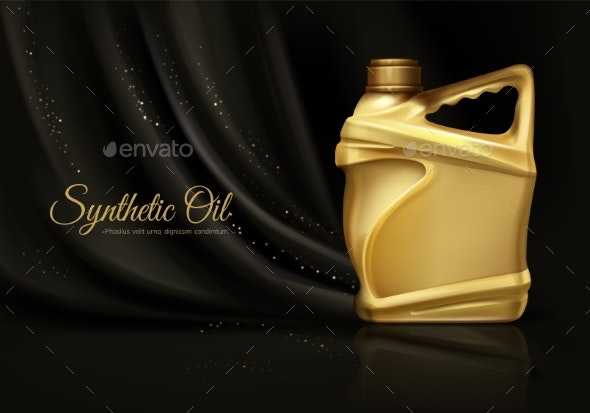 Synthetic Car Engine Oil Realistic Vector Banner - Industries Business