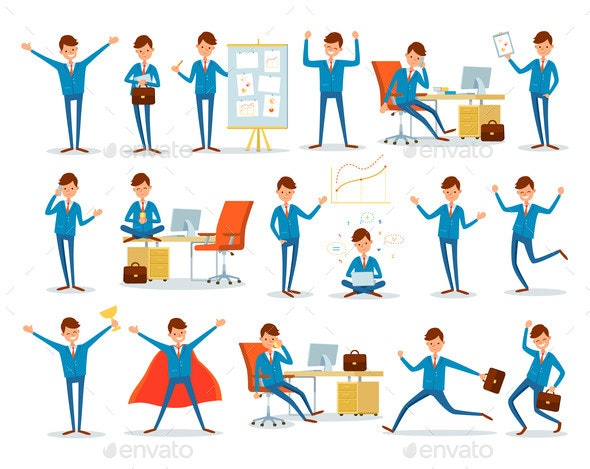 Man Busy with Work, Businessman Characters at Work - Business Conceptual