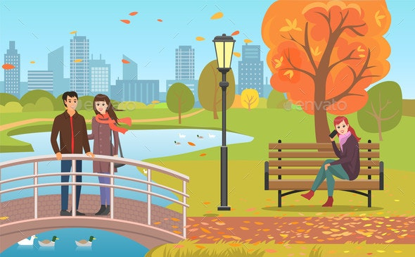 Autumn Park with Pond, Couple and Woman on Bench - Landscapes Nature