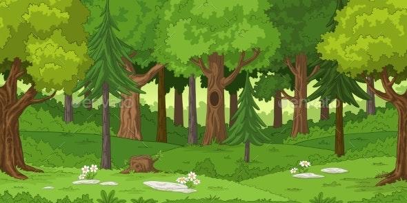 Cartoon Forest Landscape - Landscapes Nature