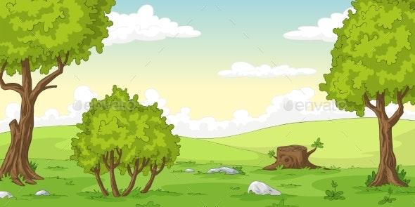 Cartoon Summer Landscape - Landscapes Nature