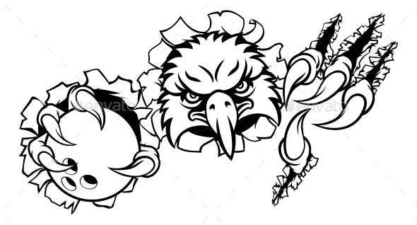 Eagle Bowling Cartoon Mascot Tearing Background - Sports/Activity Conceptual