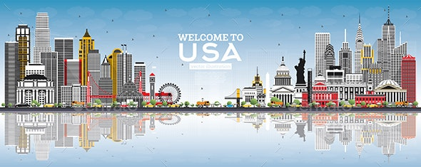 Welcome to USA Skyline with Gray Buildings - Buildings Objects