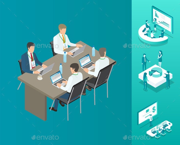 Meeting of Businessmen Set Vector Illustration - Business Conceptual