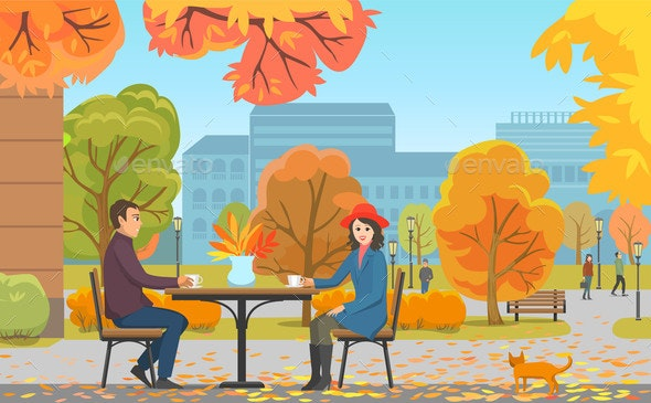 Autumn Park and Couple Drinking Coffee Near Cafe - People Characters