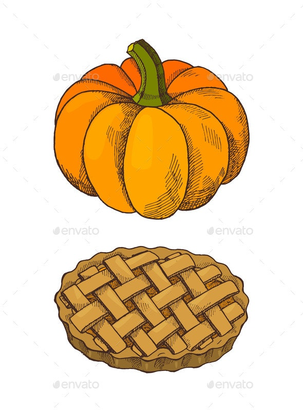 Pumpkin Vegetable and Baked Pie Icons Set Vector - Objects Vectors
