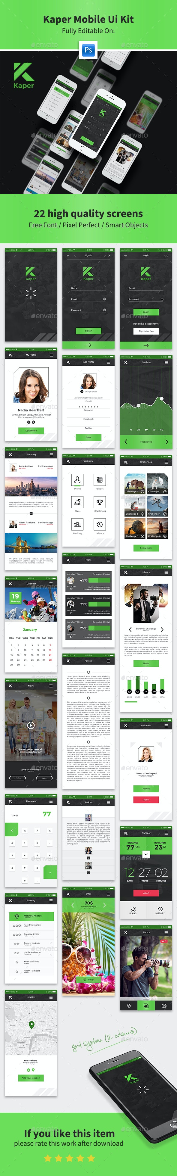 Kaper Mobile Ui Kit - User Interfaces Web Elements