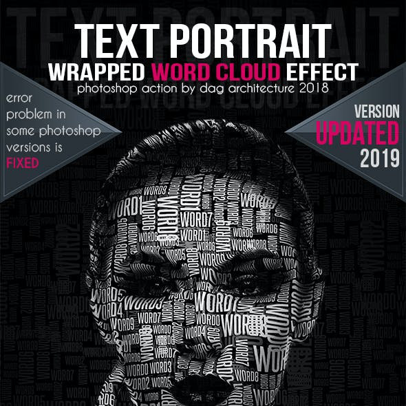 Text Portrait Action - Word Cloud Style