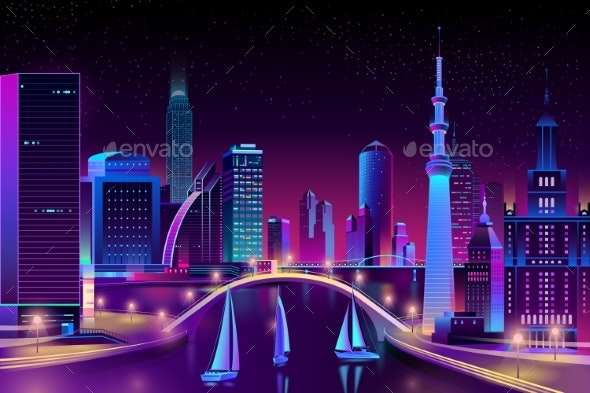 Vector Neon Megapolis on Water Yacht Regatta - Buildings Objects