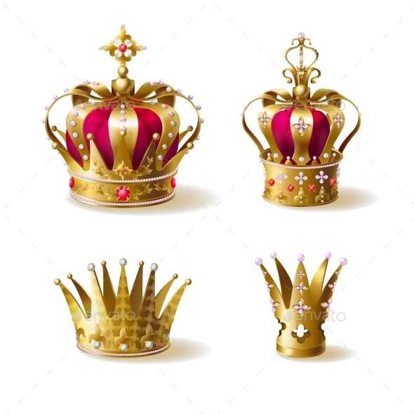 Royal Family Golden Crowns Realistic Vector Set - Man-made Objects Objects