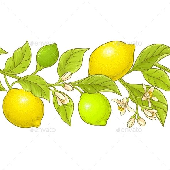 Lemon Branch Vector Pattern - Food Objects