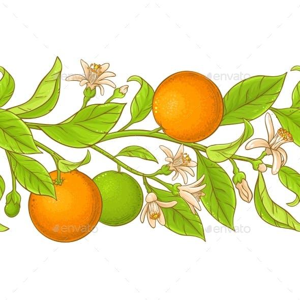 Orange Branch Vector Pattern
