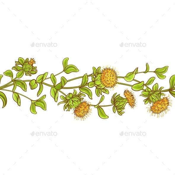 Safflower Plant Vector Pattern - Health/Medicine Conceptual