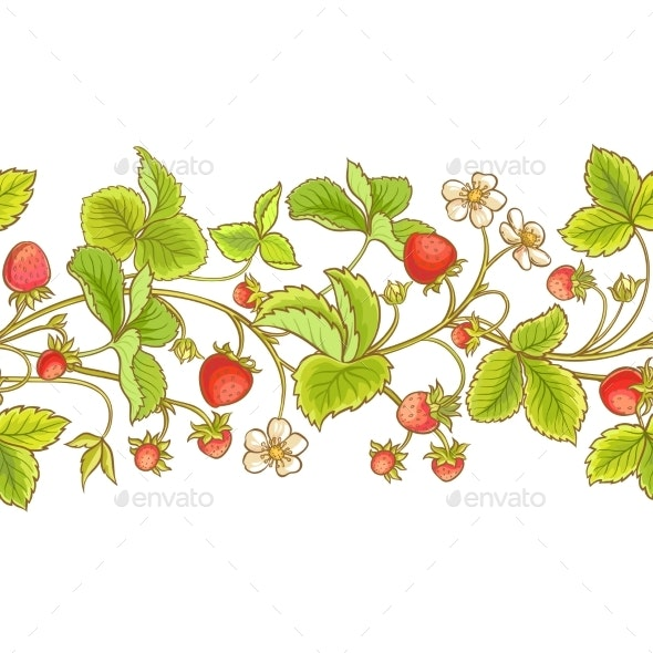 Strawberry Plant Vector Pattern - Food Objects