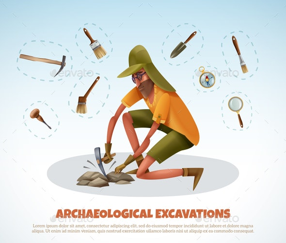 Archeological Digging Doodle Background - Miscellaneous Vectors