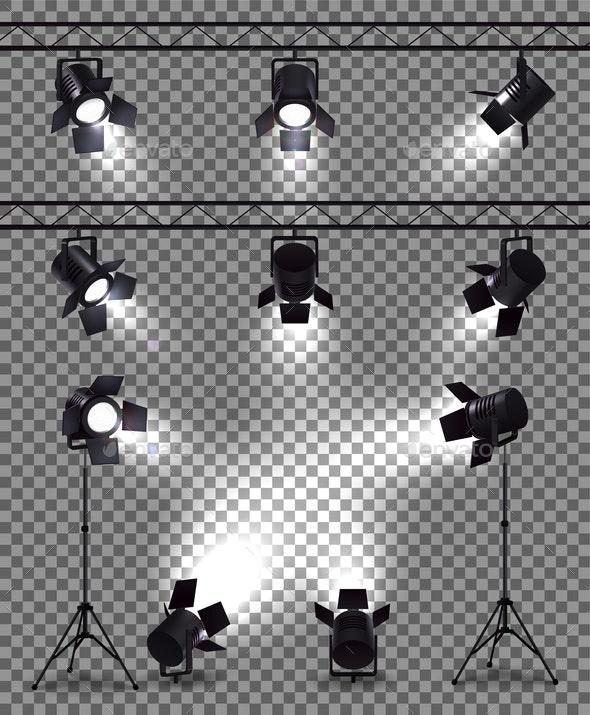 Spotlights Realistic Transparent Collection - Miscellaneous Vectors