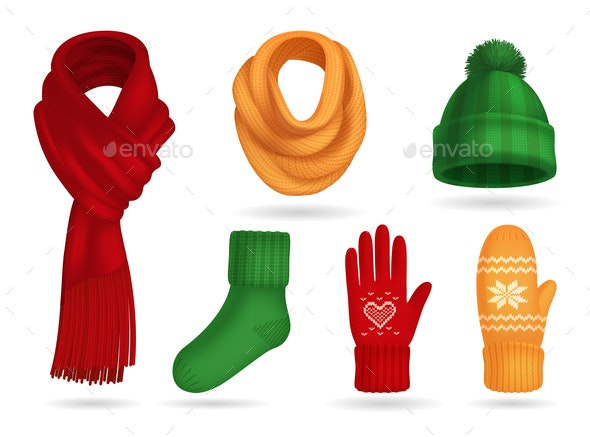 Winter Knitted Clothes Set - Miscellaneous Vectors