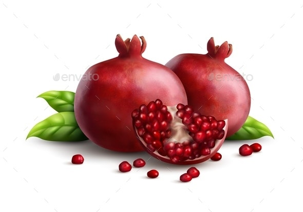 Pomegranate Realistic Composition - Food Objects