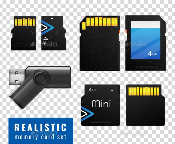 Realistic Memory Card Transparent Icon Set - Computers Technology