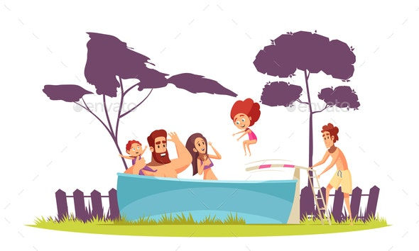 Family Active Holidays Pool Illustration - People Characters
