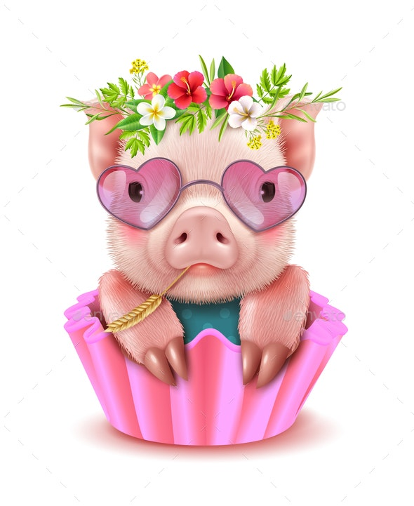 Pig Realistic Portrait - Animals Characters