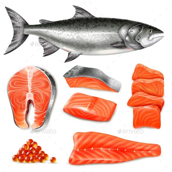 Realistic Salmon Set - Food Objects