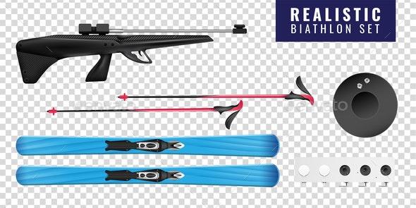 Realistic Biathlon Transparent Horizontal Icon Set - Miscellaneous Vectors
