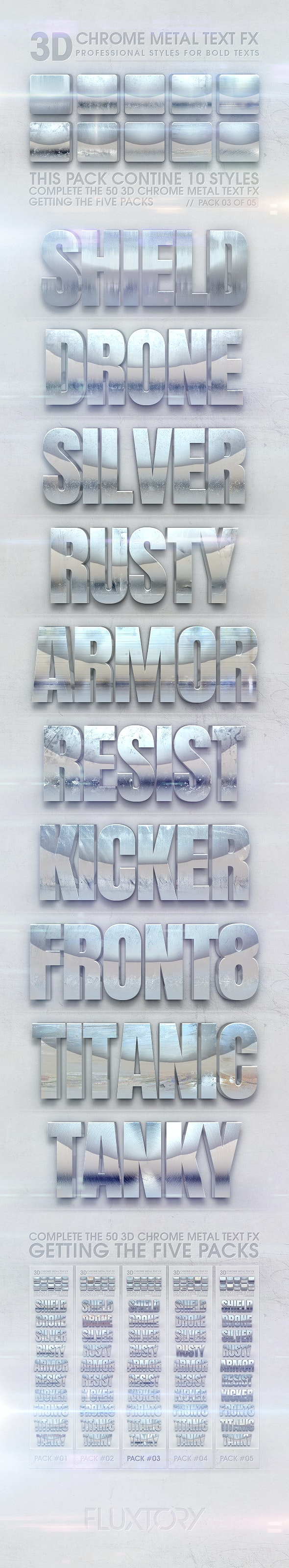 3D Chrome Metal Text FX 03 of 05 - Text Effects Styles