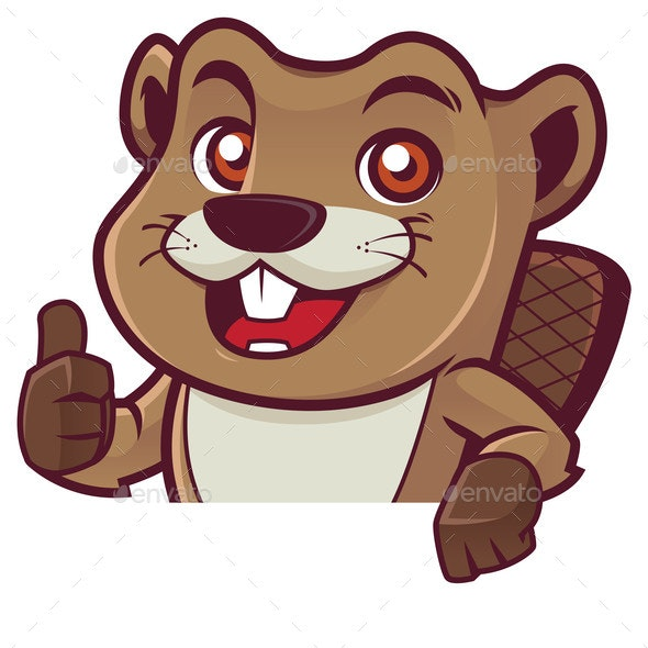 Beaver Behind Sign - Animals Characters