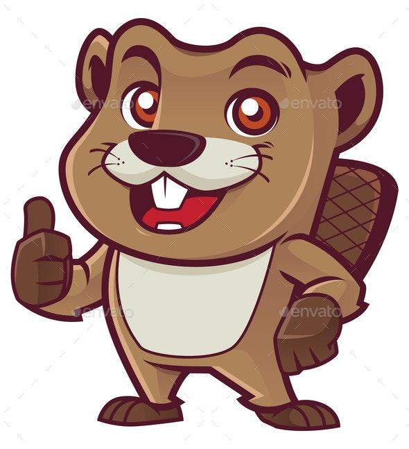 Beaver Mascot on White - Animals Characters