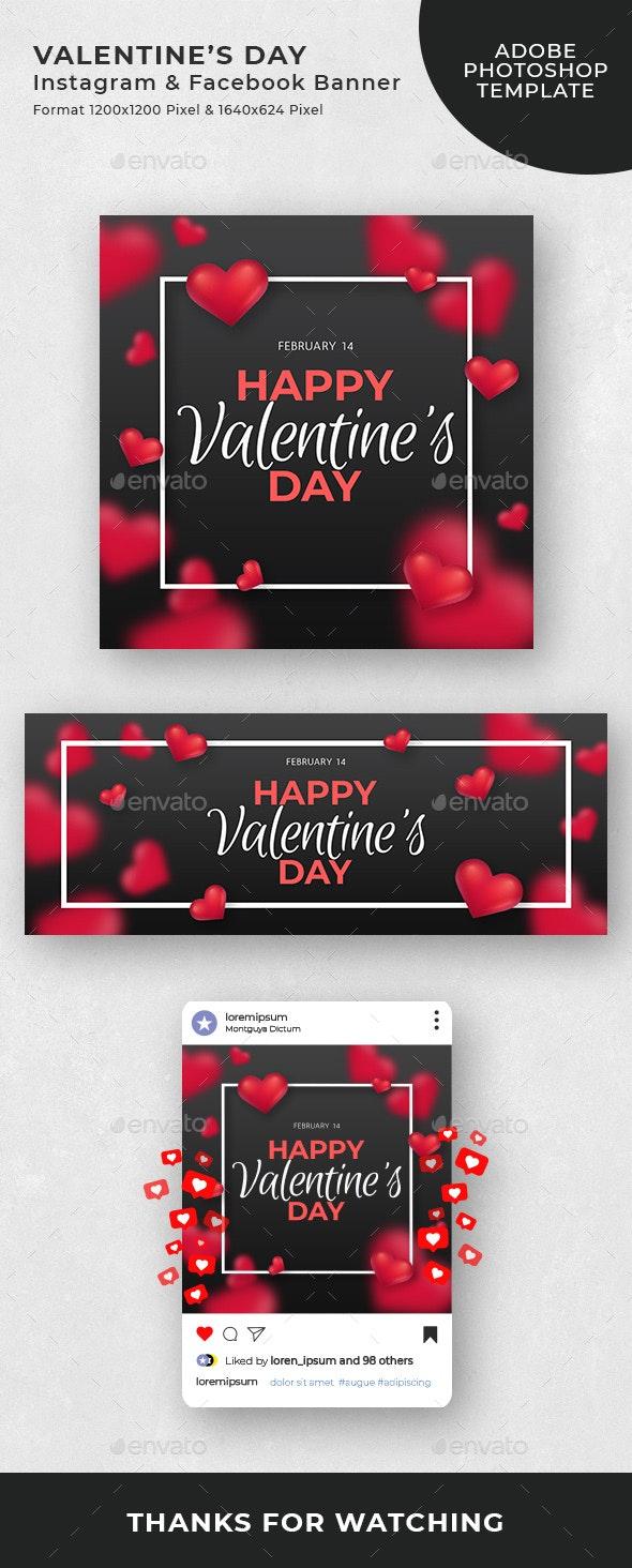 Valentines Day Instagram and Facebook Banner - Social Media Web Elements
