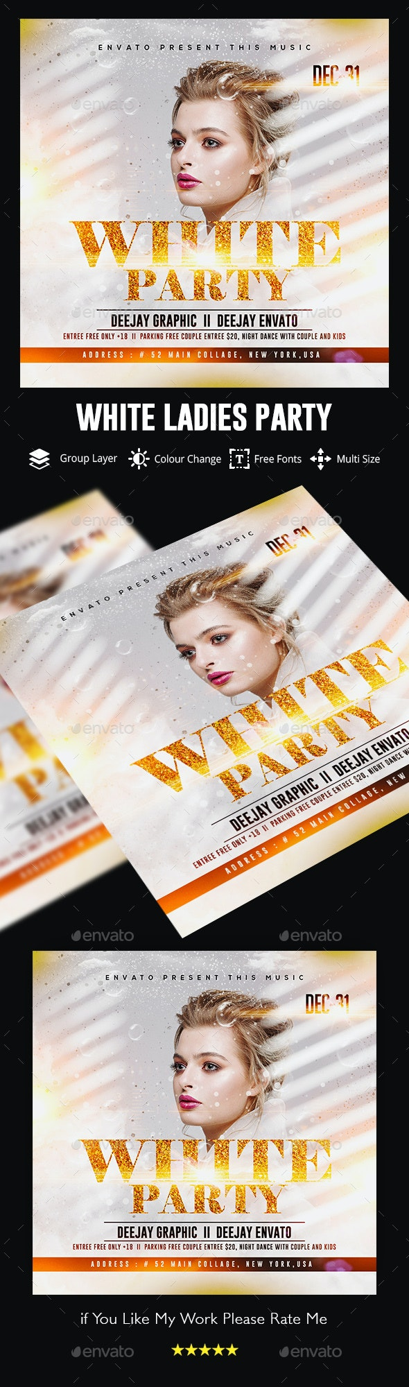 White Flyer Template - Clubs & Parties Events