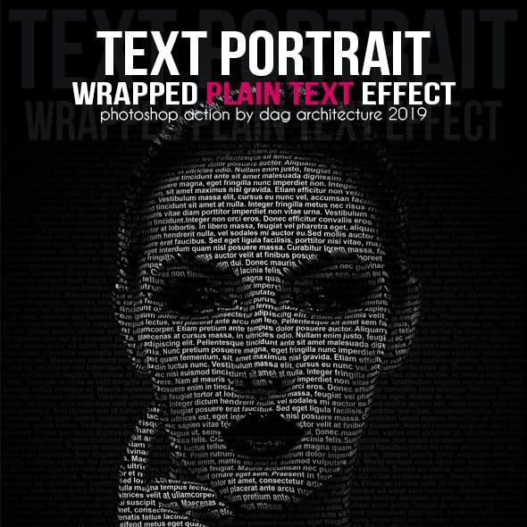 Text Portrait Action - Plain Text Style