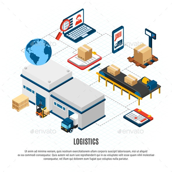 Logistics Isometric Flowchart - Buildings Objects