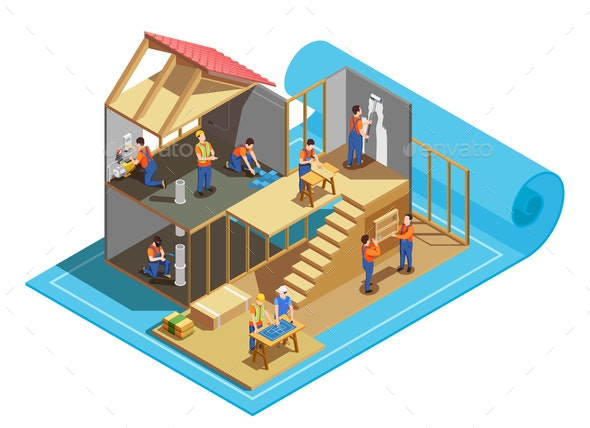 Construction Workers Isometric Composition - People Characters
