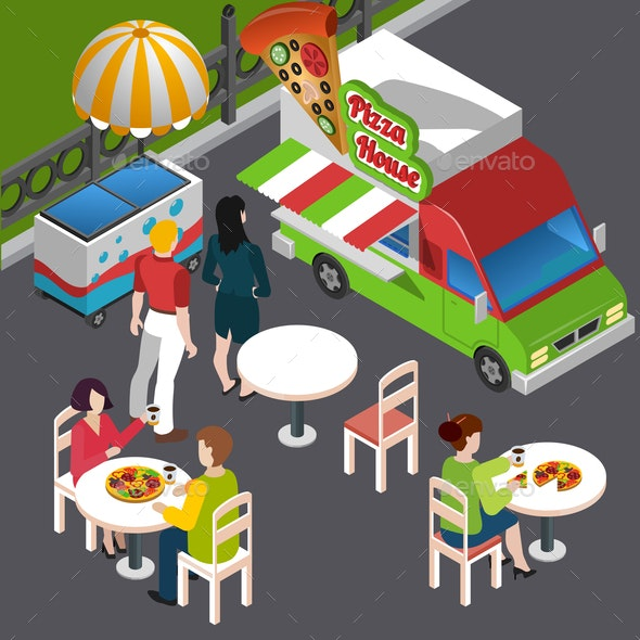 Street Food Isometric Composition - Food Objects