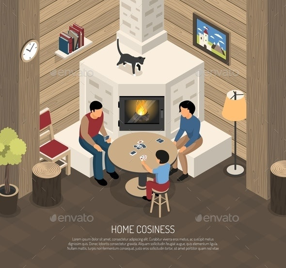 Fire Place Family Isometric Illustration - People Characters