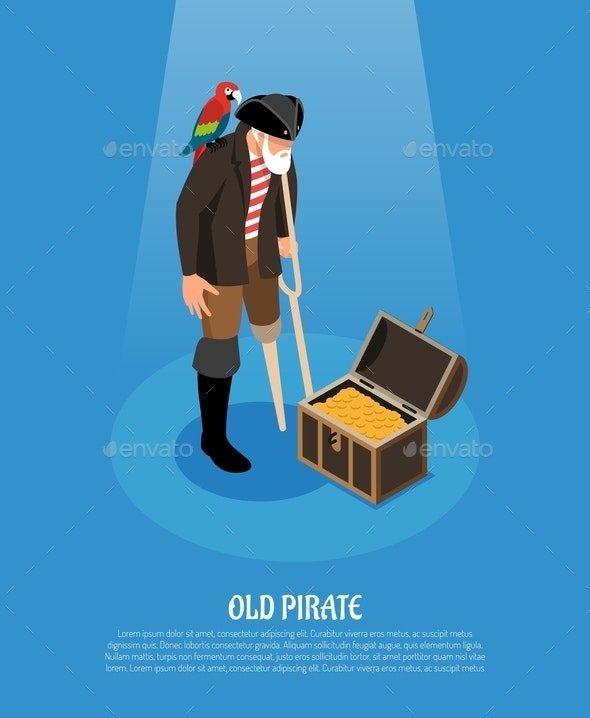 Old Pirate Isometric Composition - People Characters