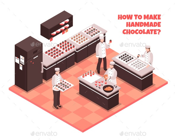 Chocolate Manufacture Isometric Composition - Food Objects
