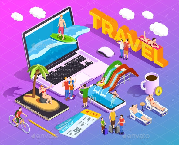 Travel Isometric Composition - Travel Conceptual