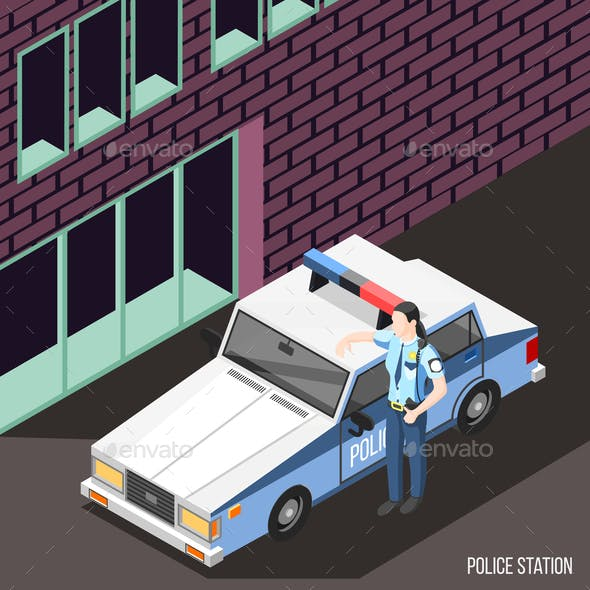 Police Station Isometric Background
