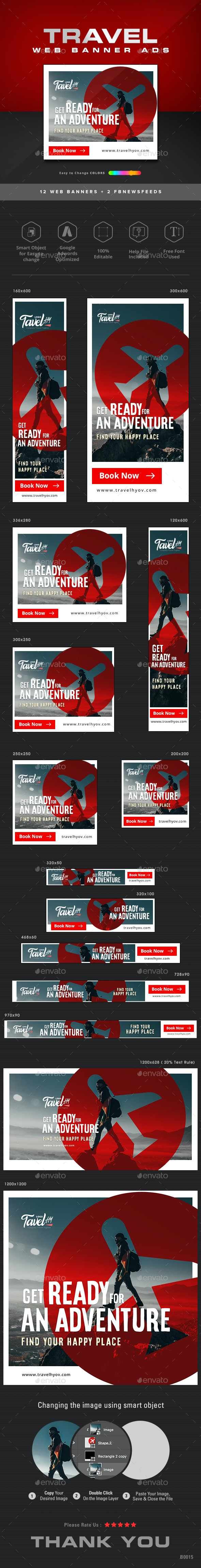 Travel Web Banner Set - Banners & Ads Web Elements