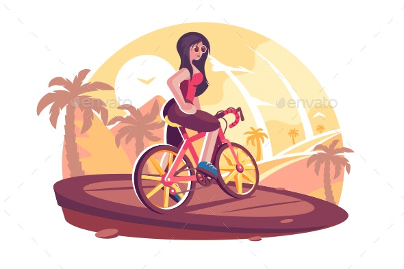 Girl Riding Bicycle on the Beach - Sports/Activity Conceptual
