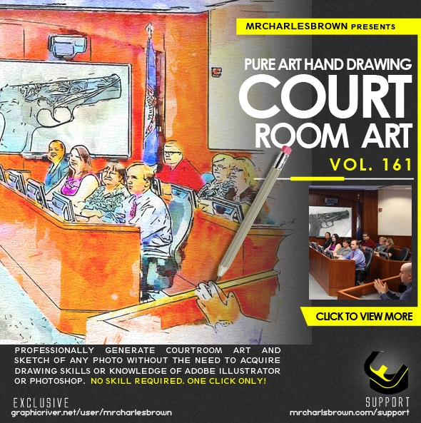 Pure Art Hand Drawing 161 – Courtroom Art - Photo Effects Actions