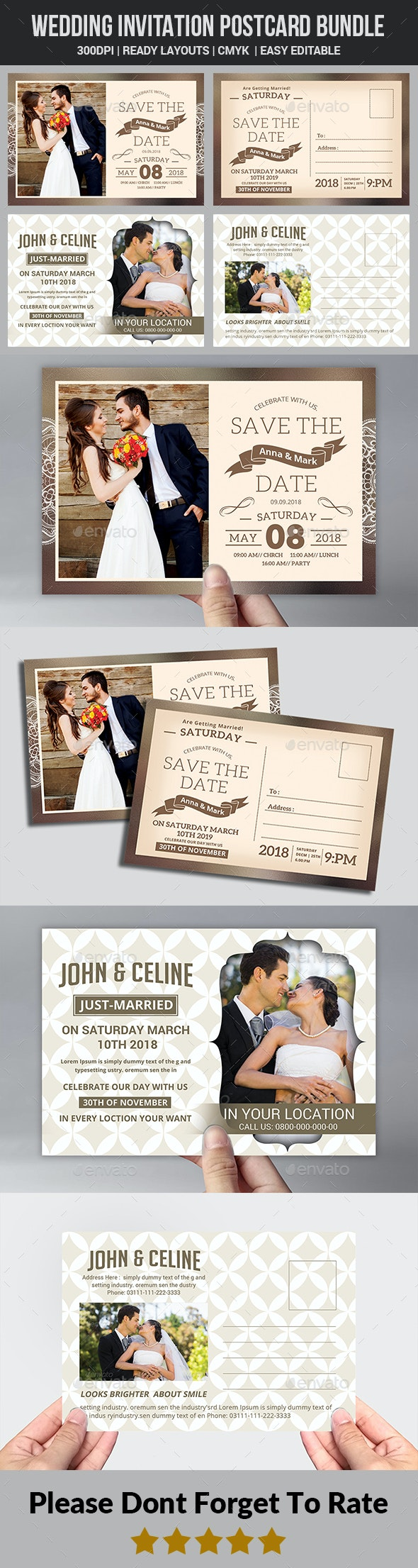 Wedding Invitation Postcard Bundle - Weddings Cards & Invites