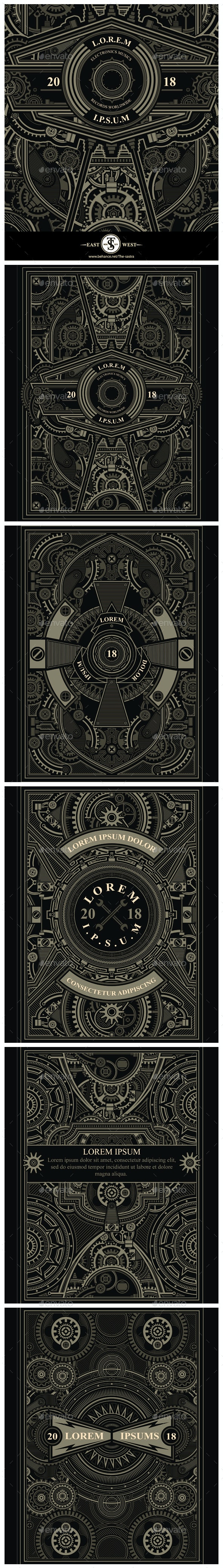 5 Steampunk Posters - Backgrounds Decorative