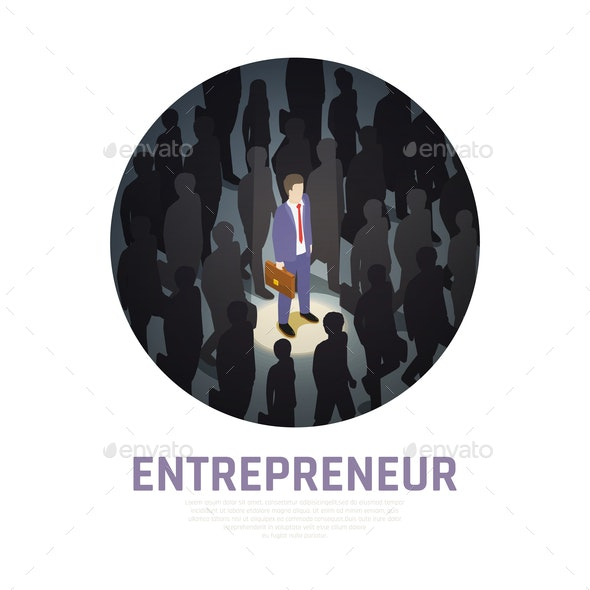 Entrepreneur Concept Isometric Composition - People Characters